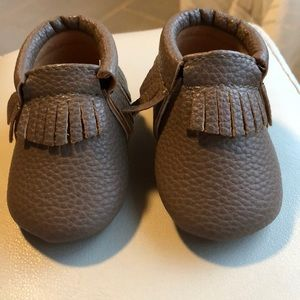 Dark brown moccs, size 1